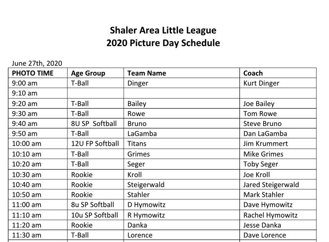 Picture Schedule 6/27